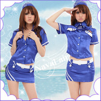 Wholesale Hot Sexy Women Cosplay Costumes Lingerie Glitz Medal Career suit flight attendant Hat A9145