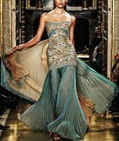 Wholesale Mermaid Green gold beaded Embroidery Chiffon zuhair murad evening dress with Diamonds