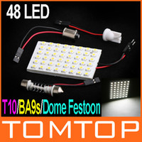 SMD SMT LED Bulbs T10 12V 1210 SMD 48 LED White light led car lamp DC 12V Car Interior Dome Bulb + T10 BA9s Dome Festoon K608W