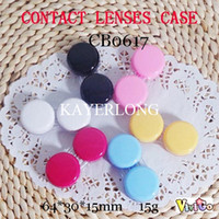 Wholesale colorful flat cover contact lenses case CB0617