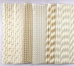 Free shipping Wedding Supplies 19.7CM Striped Drinking Paper Straw Package 22 Colors 2200PCS