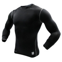 Wholesale compression jersey men running clothing tight shirt long sleeve jersey tights