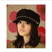 Wholesale The Korea Style Ladies Fedora Hat Fashion Cheap Top Cotton Caps With Leather DG