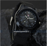 Wholesale Black Military Army Bomber Pilot Canvas Strap Sports Men Boy Quartz Wrist Watch
