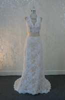 Wholesale Wow Lace Keyhole Back Ivory lace and champagne satin A line bride wedding dresses champagne belt