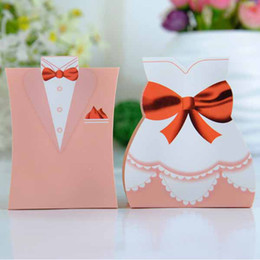 Wholesale Pink Tuxedo and Gown Favor Box wedding gift Boxes candy box