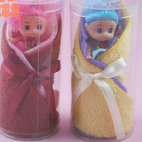 towel cake favors - TOP Wedding favors cute wedding party gifts cotton embroidery Cartoon Fashion Barbie cake towel