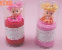 TOP Favores de la boda regalos de boda del partido lindo 100% del bordado del algodón toalla muñeca de dibujos animados de Barbie