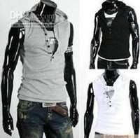 Wholesale Free Shiping NEW Men s Sleeveless Hoody Vest Fashion Cotton Top Six buttons T shirt k635