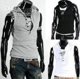 Wholesale Free Shiping NEW Men s Sleeveless Hoody Vest Fashion Cotton Top Six buttons T shirt k635