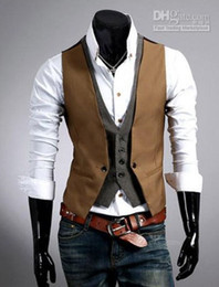 Wholesale hot sale new men Fashion plaid false two design slim fit veat casul all match vest jk5