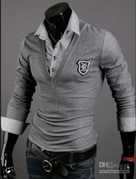 Wholesale New Mens Casual Slim Fit long Sleeves T Shirts Polo shirt Colors Black White Gray h45