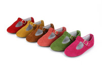 Wholesale Little Girl s Spring Autumn Cow Suede Leather Shoes Kids Childrens leather shoes FEDEX Free