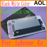 Wholesale Glass Back Housing Battery Door Cover Replacement part Black White for iphone S G
