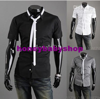 Wholesale Fashion Form a complete set of tie Men s Long Sleeve Shirts Casual Slim Shirt