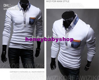 Men Cotton Long Sleeve men leisure grids pockets silm long sleeve POLO shirts