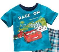 Girl 18-24 Months Summer 2013 cartoon Car Short sleeve Boy's Pajamas Set, Baby Homewear Free Shipping 6sets lot