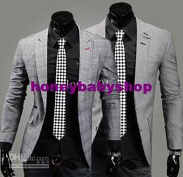 Wholesale New arrivals men suits Classic concise lattice suit cotton silm small suit coat single breasted suit