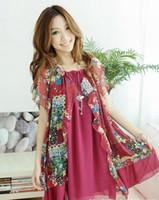 bohemian clothes - 2013 New Summer Maternity Dress Clothes Code Fat MM Bohemian Chiffon Skirt Loose Fitting Dress