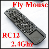 Wholesale New RC12 IN Smart Wireless GHz Air Mouse Touchpad Handheld Keyboard Combo Upgrade of RC1