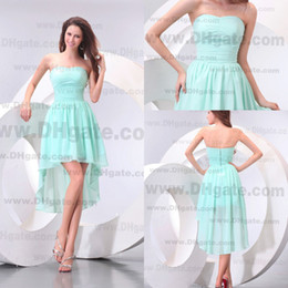 Wholesale 2013 Inexpensive simple sweetheart aqua A Line Hi Lo party dresses bridesmaid dress pageant PG005