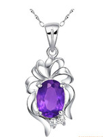 Wholesale 925 sterling silver amethyst necklace necklace pendant female natural crystal