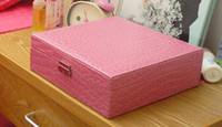 Wholesale Fashion Jewelry Box and Lock two layers rectangle Optional Expandable Compartment Makeup Caes Storag