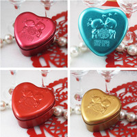 Wholesale Romantic Tin Plate Candy Boxes Heart Shape Cartoon Gold Wedding Favors Party Gift Boxes Holder