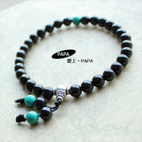 Beaded, Strands   Metal luster papa 6mm black tourmaline bracelet handmade mix match turcos pure silver