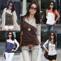 Wholesale Women s T Shirt Splice Casual Round Neck Long Sleeve T Shirt Ladies Blouse Tees Tops Colors G0145