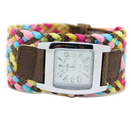 Wholesale New Colors Promotion Fashion Korea Rope Watch Braided Leather Cord bracelet watch Lady watch