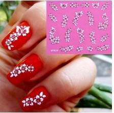 Wholesale XF018 Nail Art D Stickers D Nail decal White Flowers amp Rhinestone
