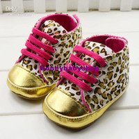 Wholesale Girl (3-4M) 10 yards Baby girls shoes Leopard Toddler shoes soft sole baby Walkers Wear Comfortable kids Casual Shoes