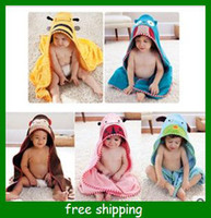 Wholesale Cartoon Animal shape bathrobe children cotton towels infants nightgown hot dog bee child Bath towel