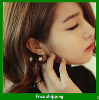 Wholesale double pearls earrings south korea style fashion pearl earrings
