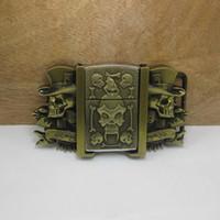 antique kerosene lighter - Skull belt buckle with kerosene lighter with antique brass finish FP can be mixed with other kerosene lighter buckles