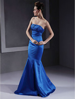 Strapless Trumpet/Mermaid Sweep Train Hot sale ! Mermaid Strapless Ruffle Beaded Satin Long tight Prom dress Bridesmaid Dress High quality