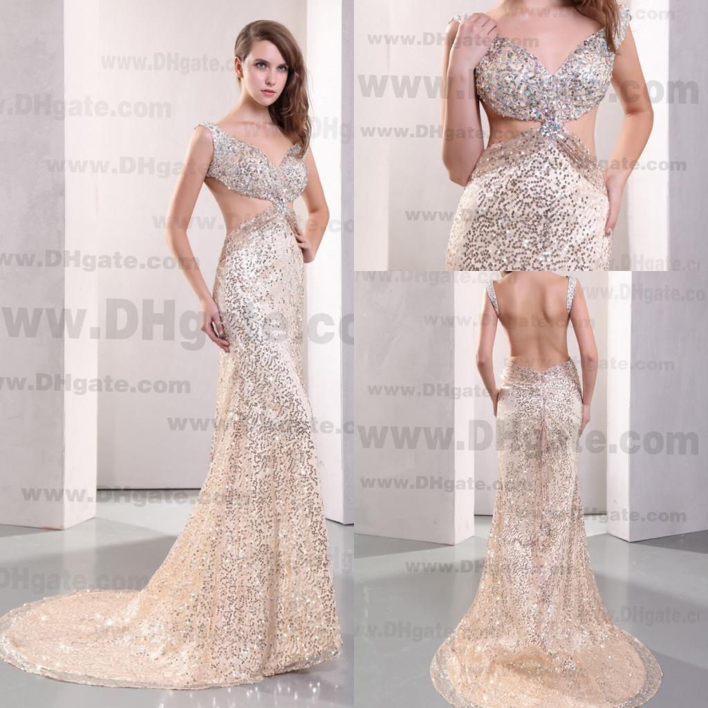 Sexy 2014 Open Back Sequins Rhinestones Mermaid Court Prom Dresses ...