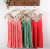 5T-6T Summer Sleeveless 2013 Girls Ruffl Dress Korean Girls Sequined Doll Collar Chiffon Pleated Dresses Children's Clothing