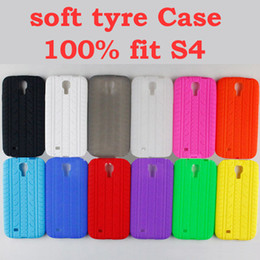 Wholesale soft tread tyre tire track Silicone Rubber gel back Case Cover Cases for SamSung Galaxy S4 i9500