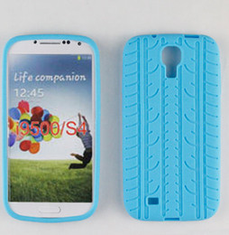 Wholesale 500pcs soft tread tyre tire track Silicone Rubber back Case Cover Cases for SamSung Galaxy S4 i9500
