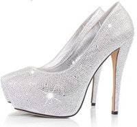 Wholesale Thin High Heel Shoes Ladies Wedding Shoes PU Vamp Party Prom Shoes Crystal ShoesUS size4