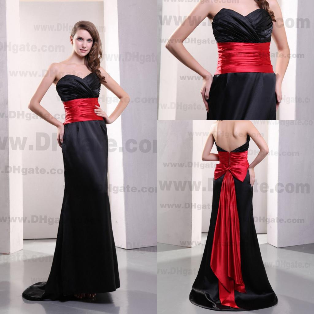 Charming 2014 Sweetheart Black And Red Bow Mermaid Long Evening ...