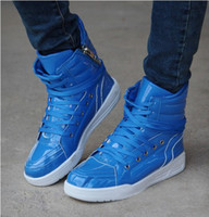 Cotton Fabric Lace-Up Rubber 2013 fashion men's shoes , the Korean version of the high-top casual shoes , men's shoes blue