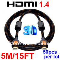 Wholesale 50Pcs Per Gold Premium High Speed V D HDMI Cable M FT M M For P HDTV PS3 Xbox