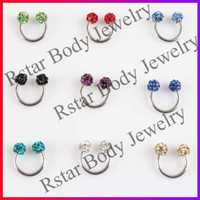 Wholesale Nose Piercing Eyebrow Ring With Diamond Piercing Jewelry Body Piercing Jewelry Color Mix