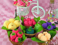fruit gift baskets - Wedding favors cute wedding party gifts cotton embroidery Cartoon fruit basket towel