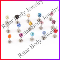 Wholesale Labret Piercing Rhinestone Labret Lip Rings Womens Labret Stud Lip Bars Body Piercing Jewelry