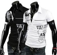 Cheap Men's Stylish Polo Shirts Slim Fit short sleeves Casual T-Shirt Letter printingTops M-XXL f2