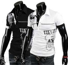 Wholesale Men s Stylish Polo Shirts Slim Fit short sleeves Casual T Shirt Letter printingTops M XXL f2